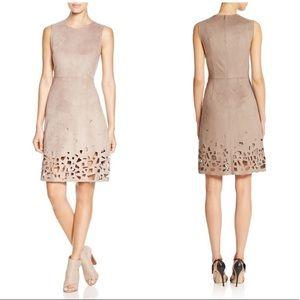 Elie Tahari Faux Suede Laser-Cut Dress